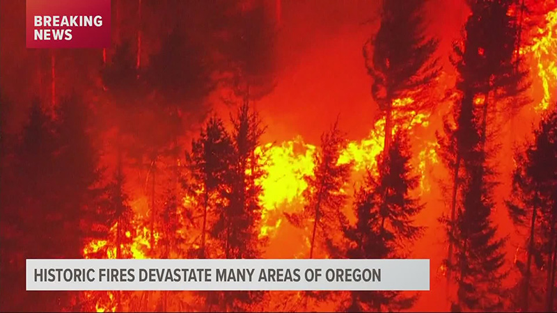 KGW Screenshot- Breaking News: Historic Fires Devastate Many Areas of Oregon
